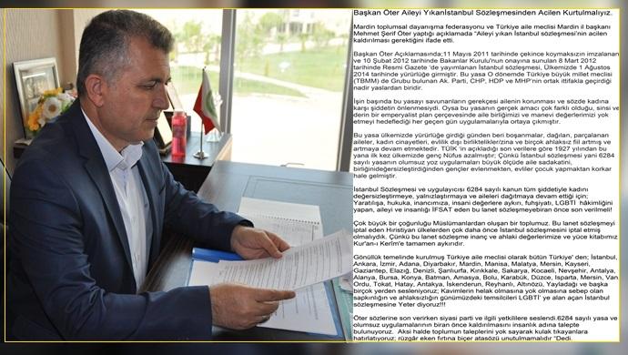 Başkan Öter: İstanbul sözleşmesi acilen iptal edilmeli