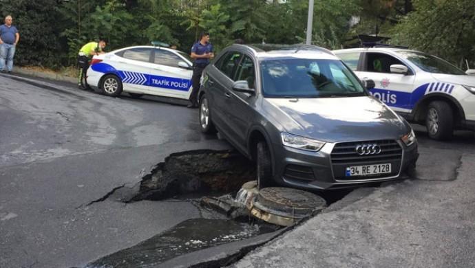 Beşiktaş'ta yol çöktü