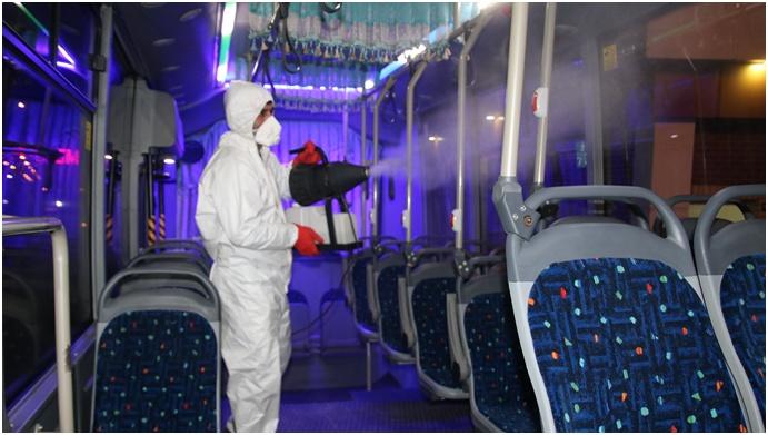 Büyükşehir'de Panik Yok; Tedbir Var Özel Halk Otobüsleri De Dezenfekte Edildi