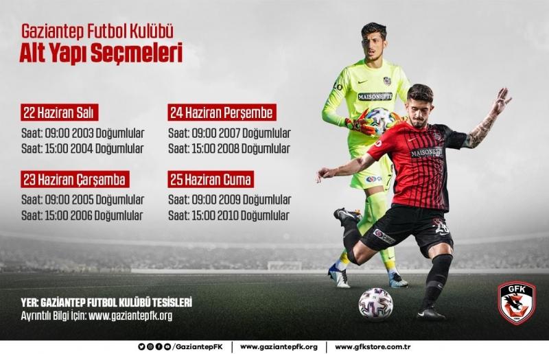 Gaziantep Futbol Kulübü Altyapı Seçmeleri Başlıyor