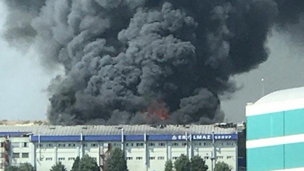 Hadımköy'de bir fabrikada yangın çıktı