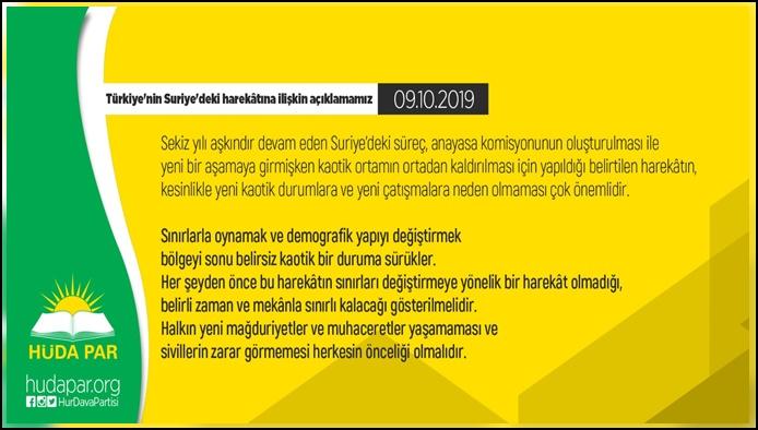 HÜDA PAR'dan Türkiye'nin Suriye'deki harekâtına ilişkin açıklama