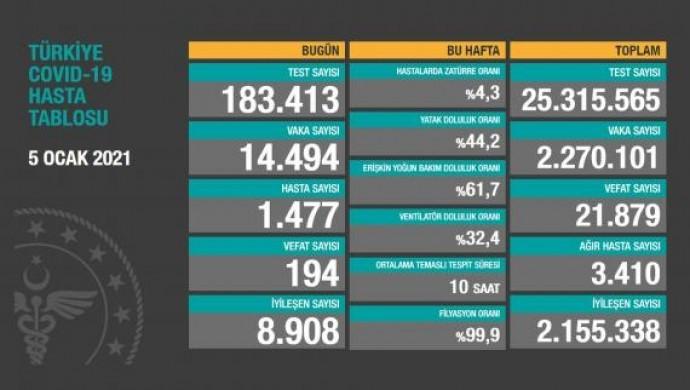 Koronadan 194 vefat, 14 bin 494 yeni vaka tespiti