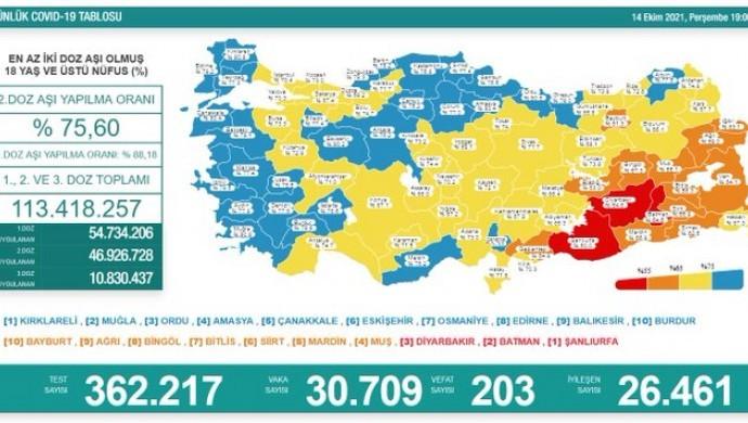 Koronadan 203 kişi daha hayatını kaybetti