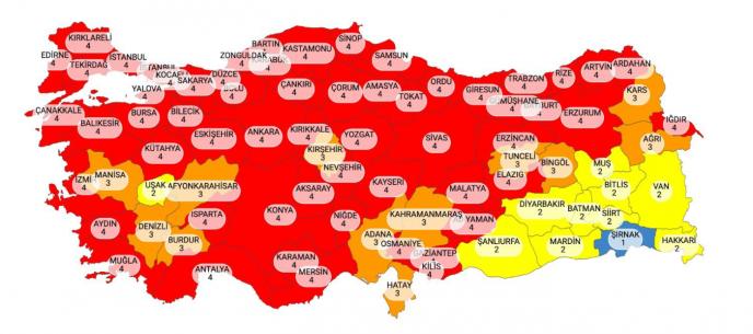 Koronavirüs risk haritasında 58 il kırmızı kategorisinde