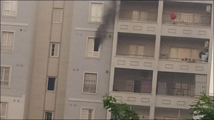 Maşuk Toki evlerinde korkutan yangın