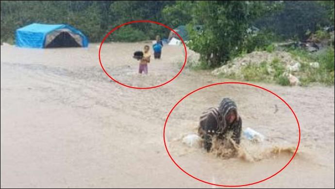 Mevsimlik işçilerin çadırları sular altında kaldı