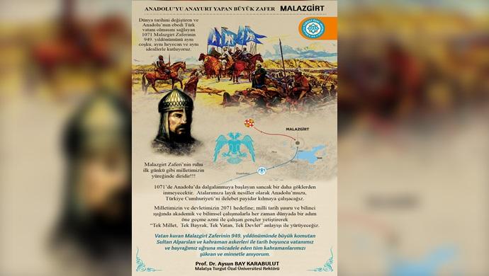 Rektör Karabulut'tan Malazgirt Zaferi'nin 949. Yıldönümü Mesajı