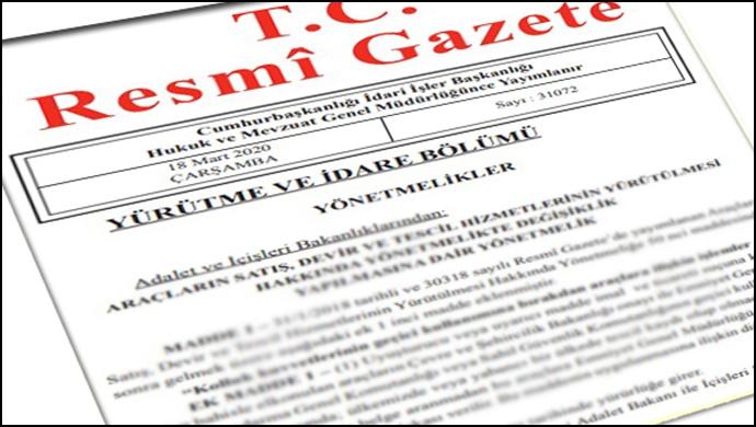 Resmi Gazete başlıkları 22.03.2020