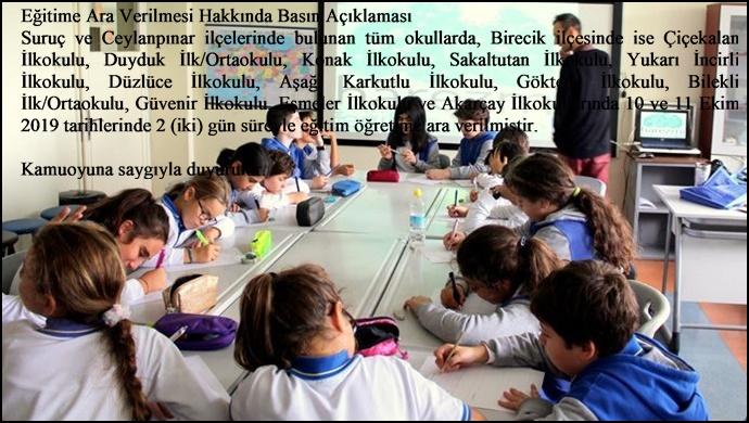 Şanlıurfa'da bazı ilçelerde okullar tatil edildi
