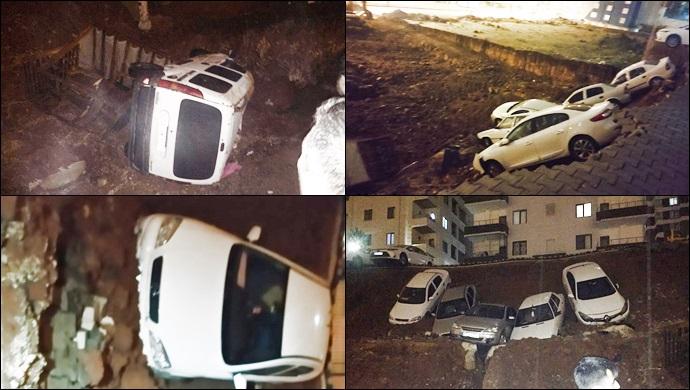 Urfa'da istinat duvarı çöktü! Çok sayıda araç hurdaya döndü-(VİDEO)