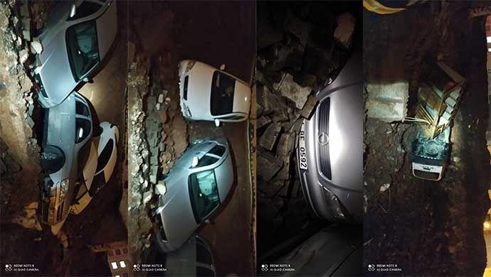 Urfa'da istinat duvarı çöktü! Çok sayıda araç hurdaya döndü