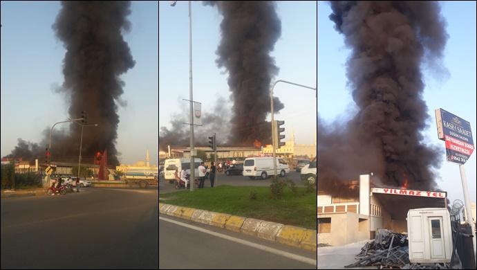 Urfa'da İşyeri Yangını (Video/Galeri)