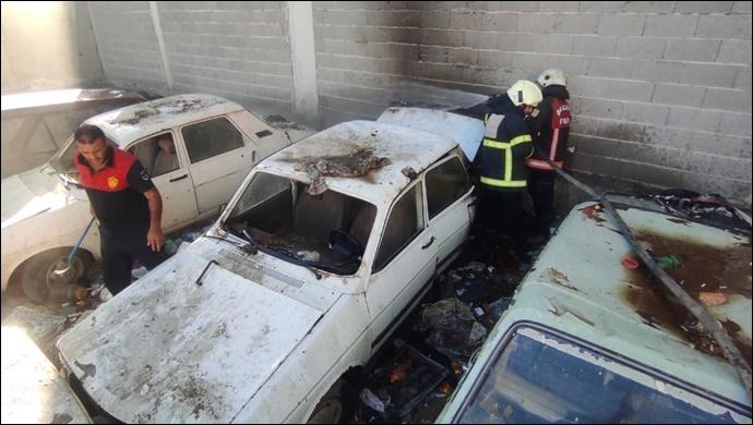 Urfa'da yediemin otoparkında yangın: İtfaiye Müdahale Etti